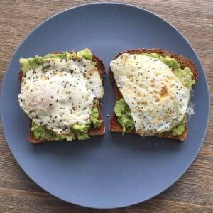 two pieces of avocado toast.