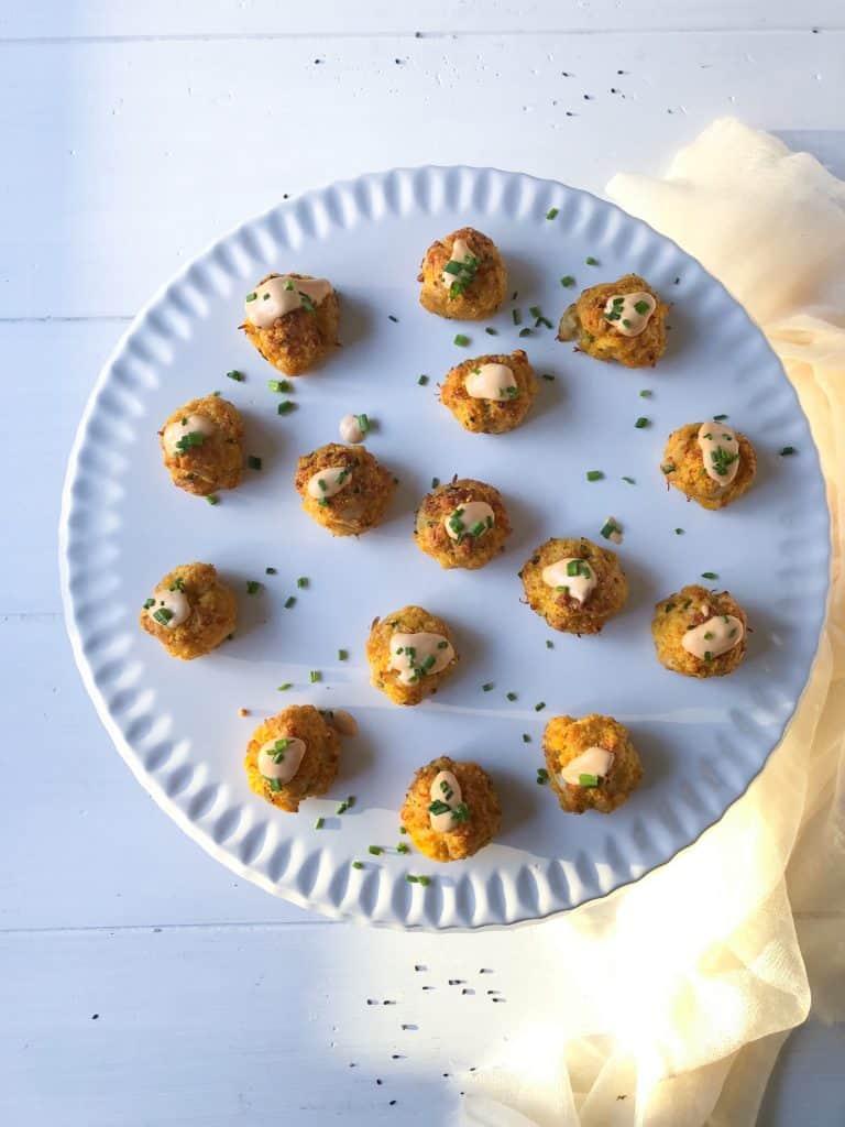 allergy friendly gluten free crab cake bites with spicy aioli