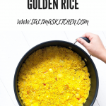 A pan full of golden Persian inspired rice