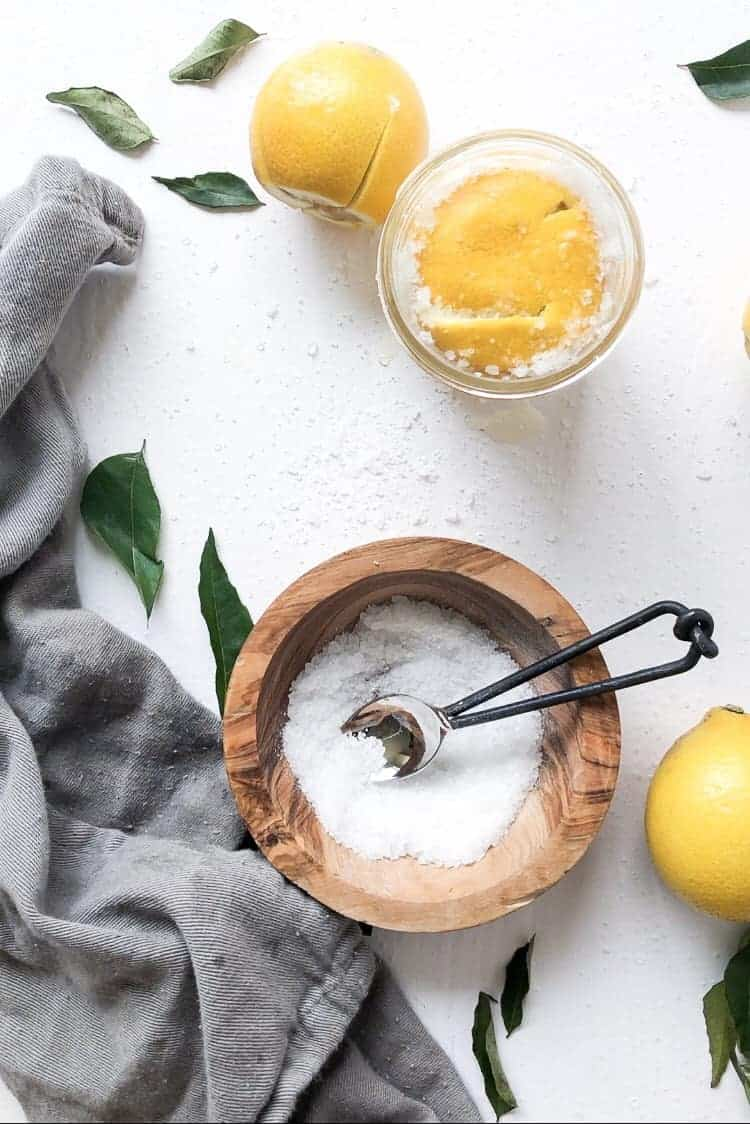 A jar of lemons preserving