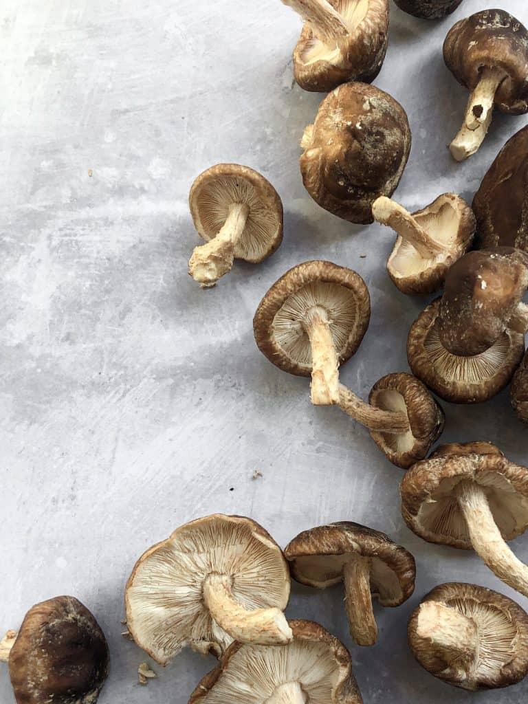 Raw shiitake mushrooms from Portland, Oregon.