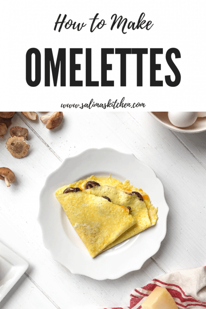 An omelette with cheddar and shiitake mushrooms.