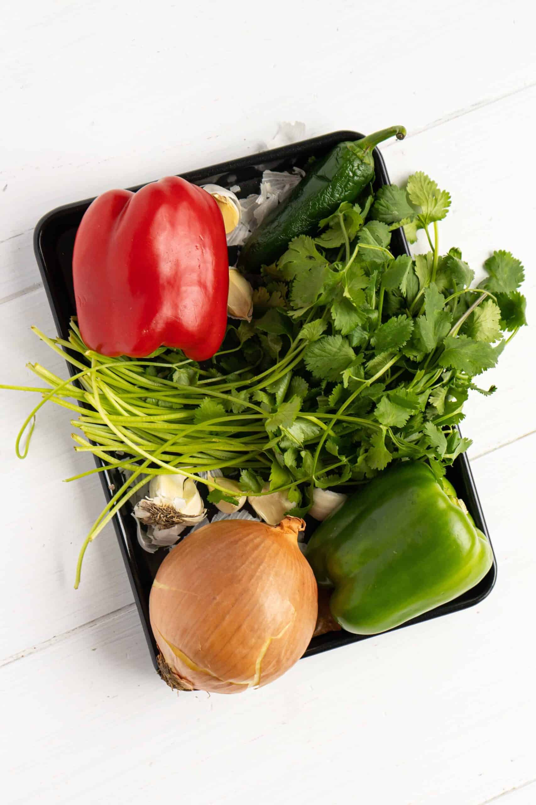 Ingredients for Puerto Rican Sofrito.