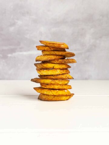A stack of air fryer plantain chips.