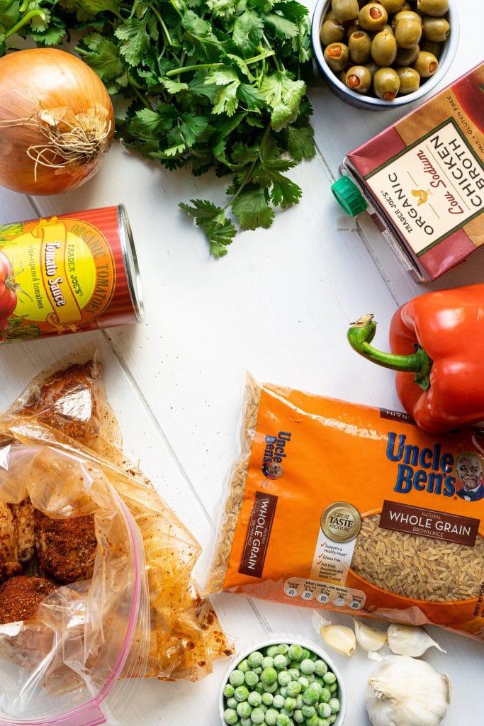 Ingredients for Puerto Rican Arroz con Pollo.