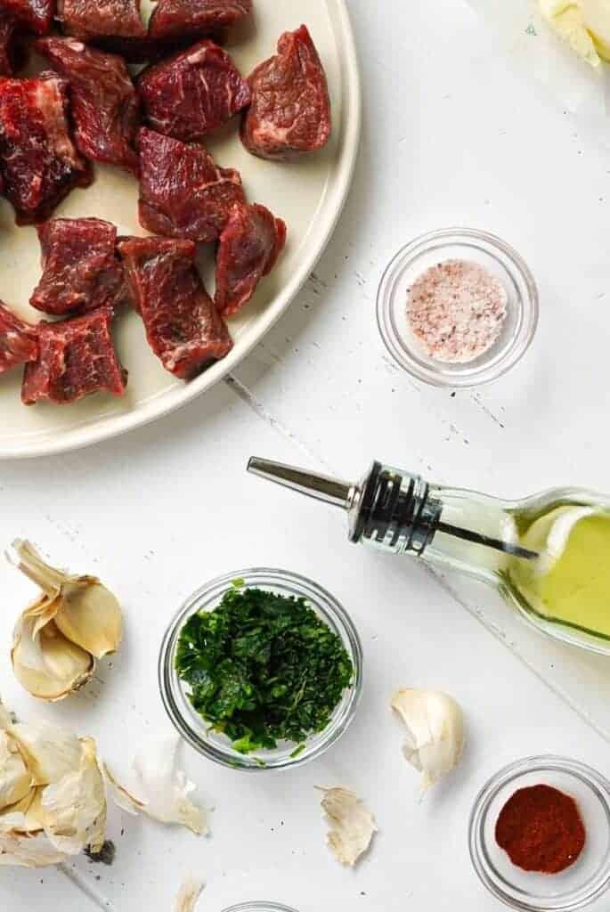 All the ingredients for Garlic Herb Steak Bites.