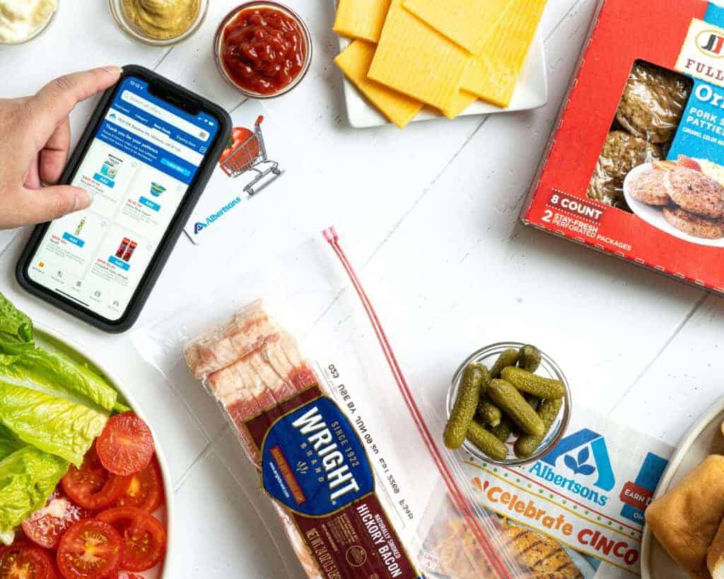 The Albertsons app being used to shop.