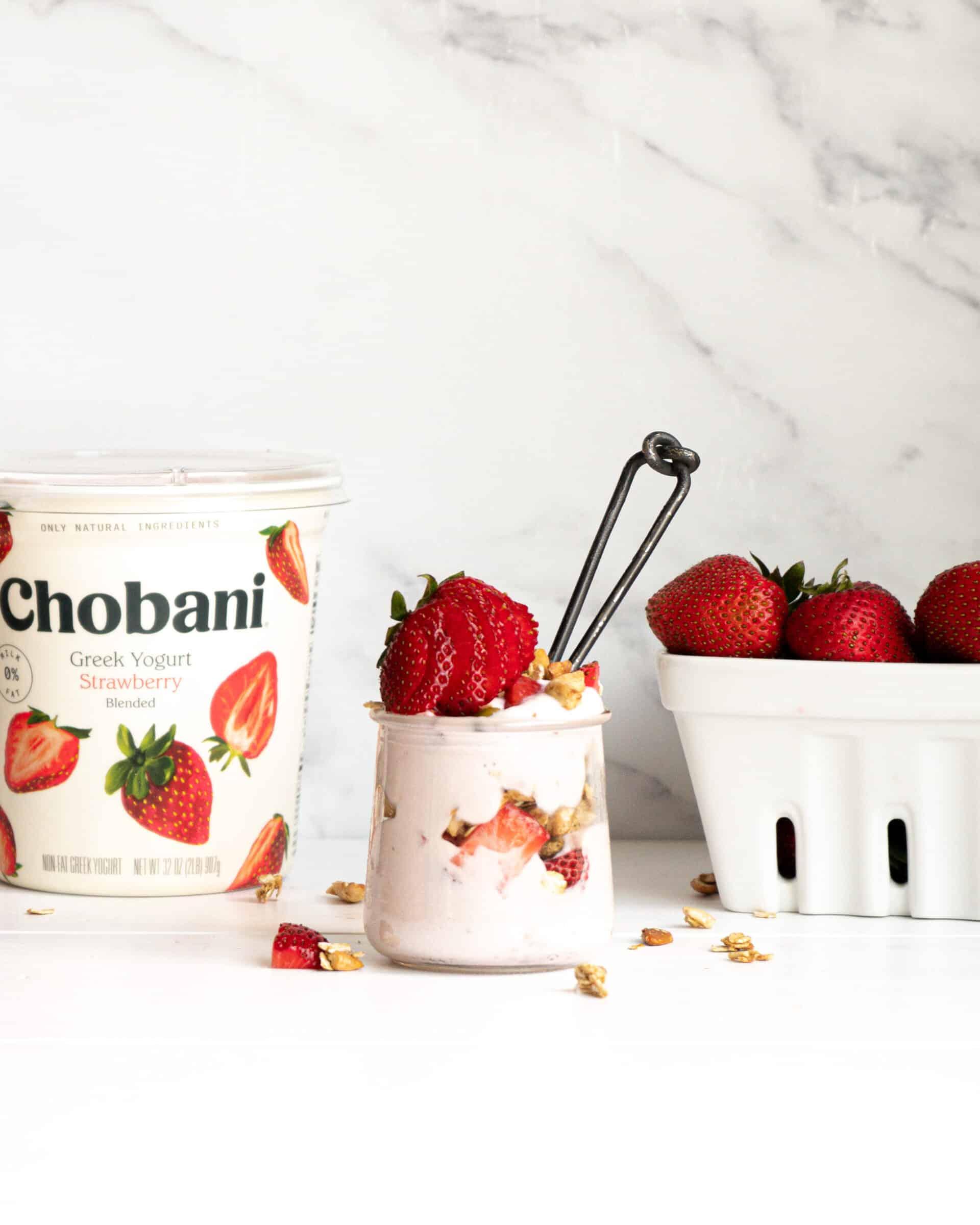 A parfait made with Chobani strawberry yogurt, granola and strawberries.