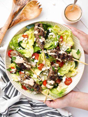A bowl of Moroccan kefta burger salad.