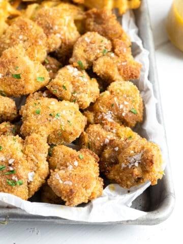 A sheet pan full of gluten free chicken nuggets