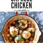 A pan of Caprese chicken