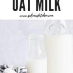 Two glass jars of gluten free oat milk.