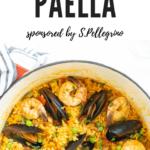 A pot full of seafood paella.