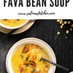 Three bowls of Moroccan fava bean soup with black spoons