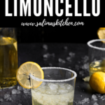A glass of limoncello with a sugared rim and lemon slice