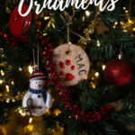 A Christmas tree close up with ornaments