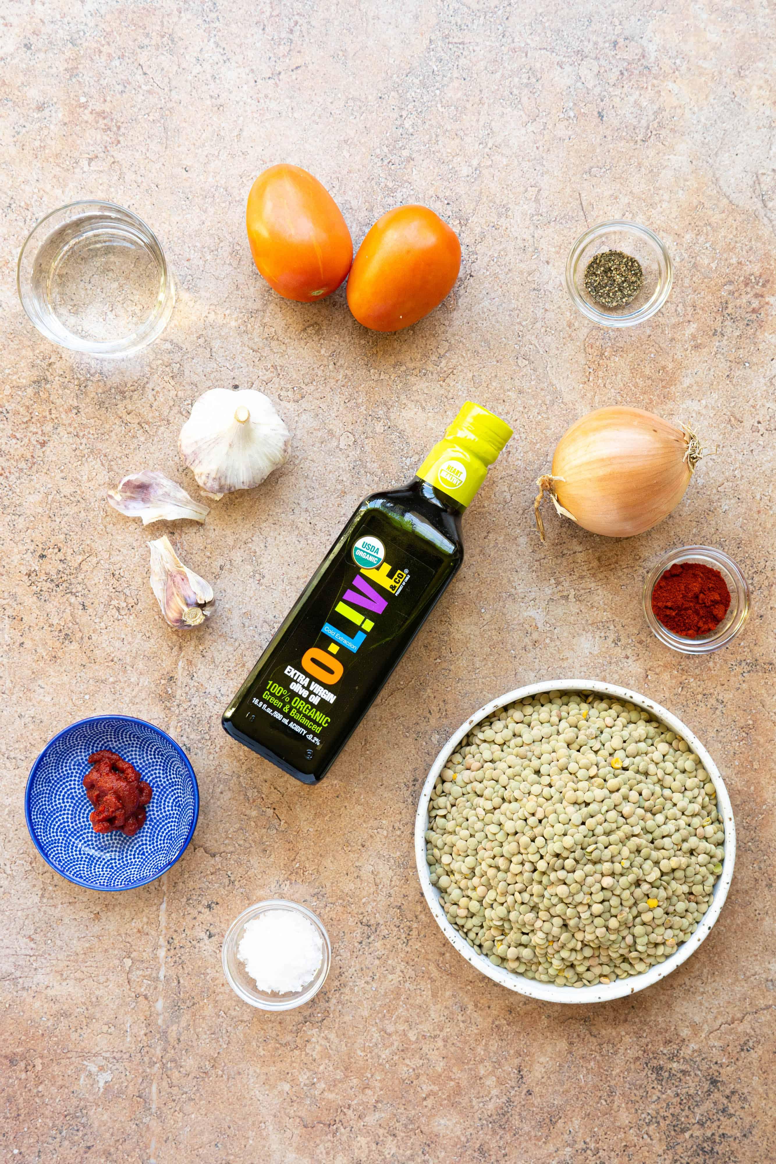 Ingredients to make a Moroccan lentil salad