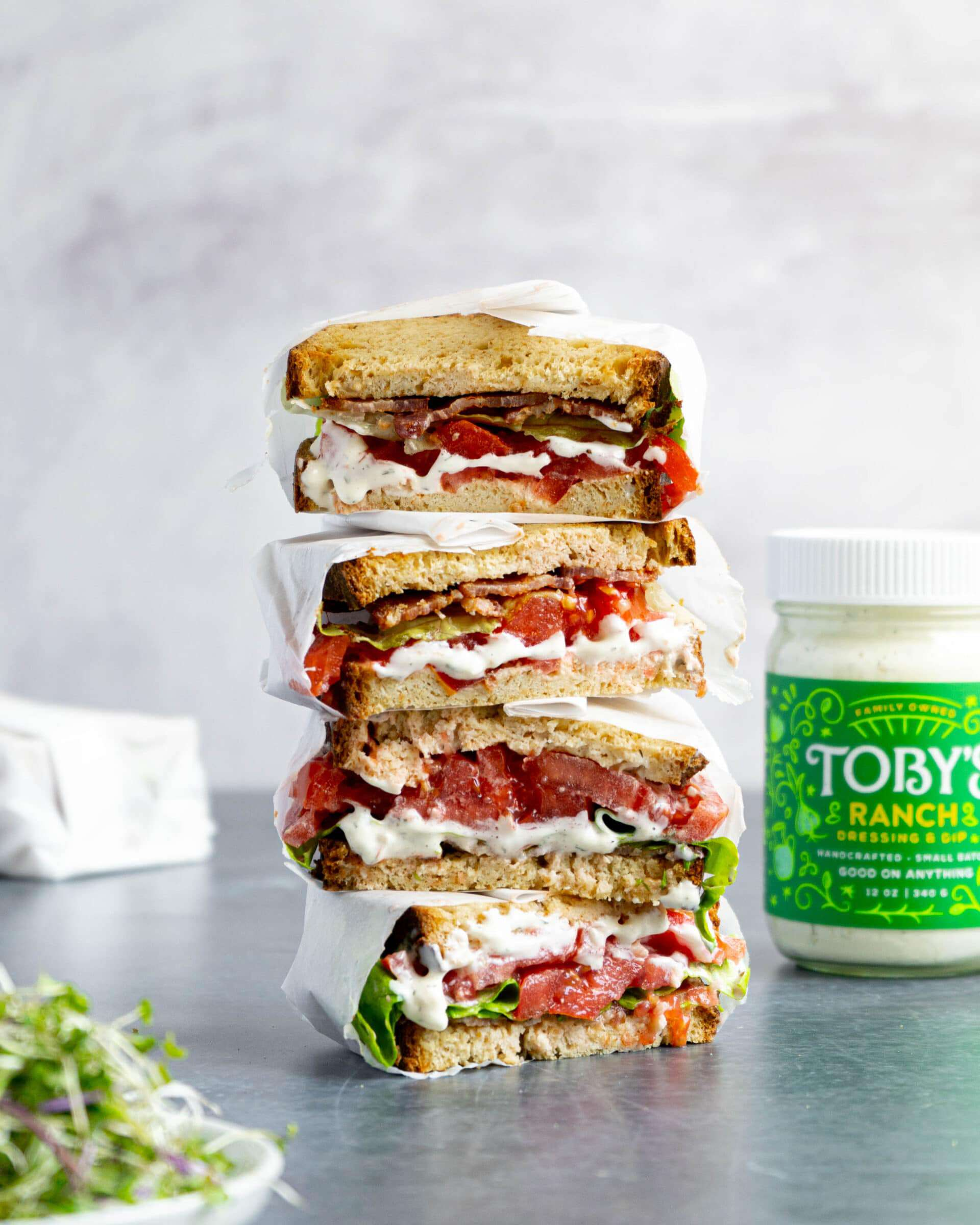 BLT sandwiches stacked on top of each other