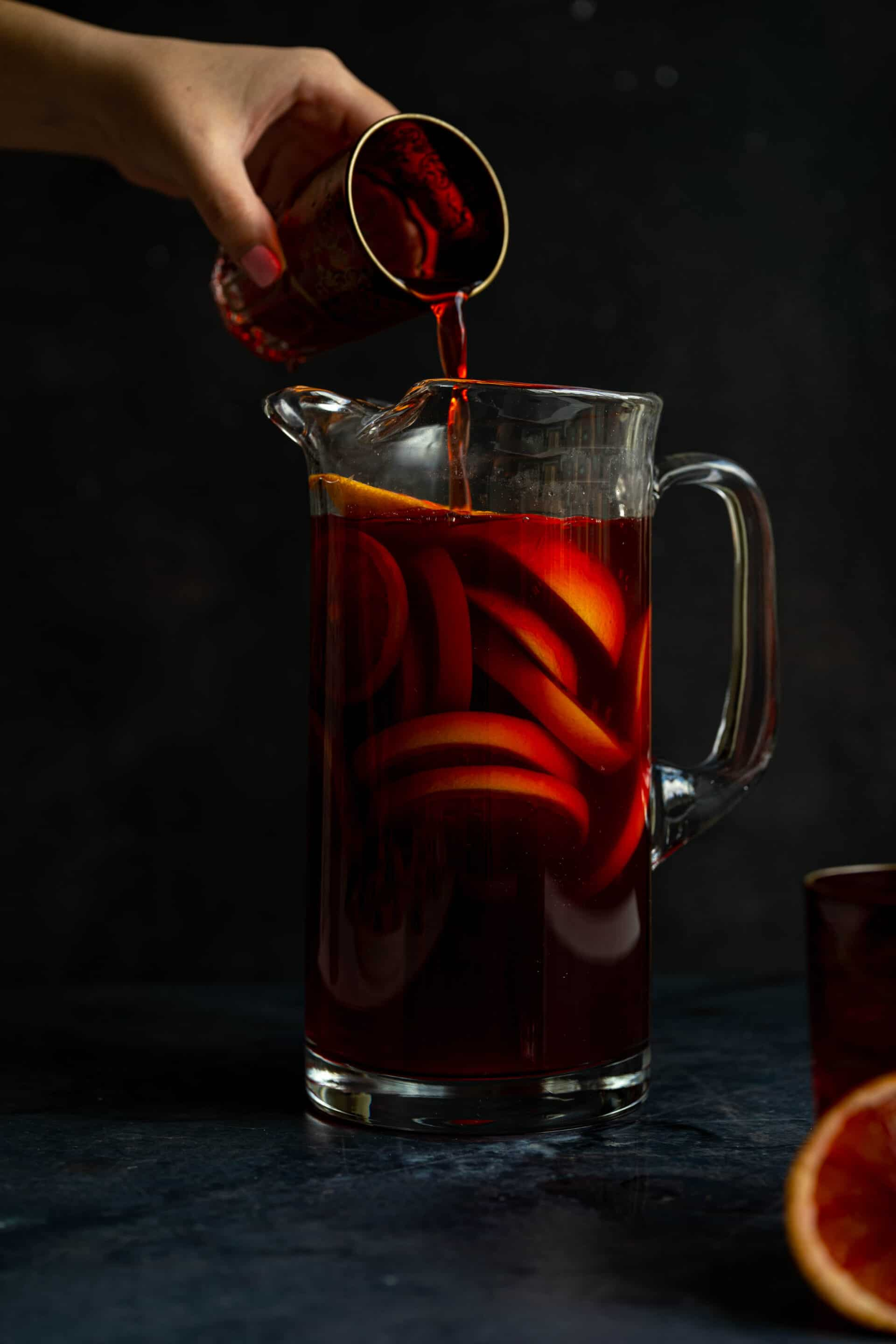 A pitcher of fruit punch