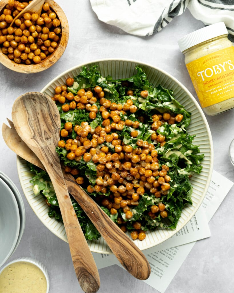 A kale salad with chickpeas