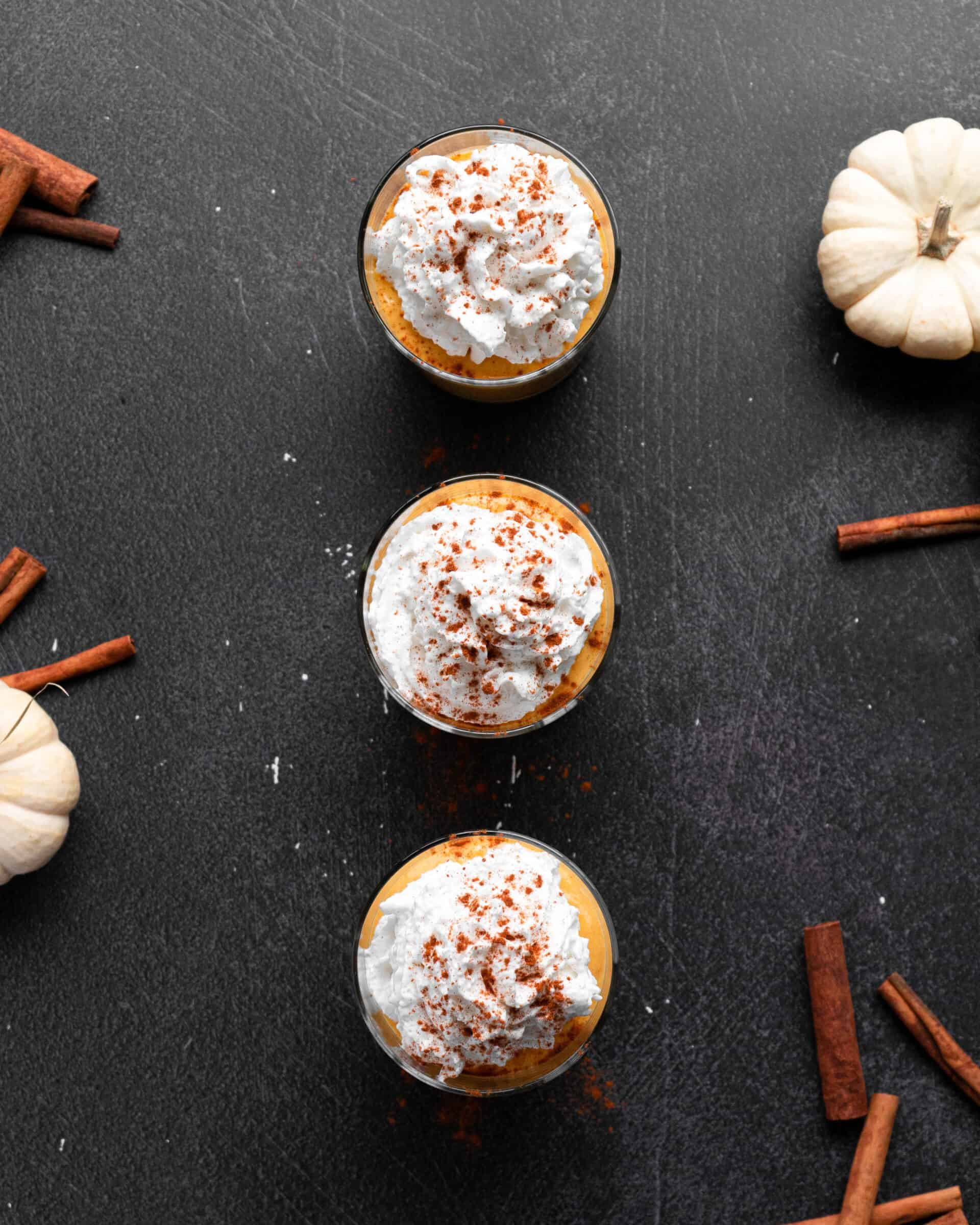Pumpkin smoothies with whipped cream