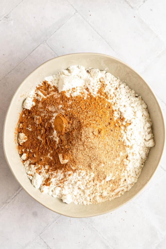 Dry baking ingredients in a bowl