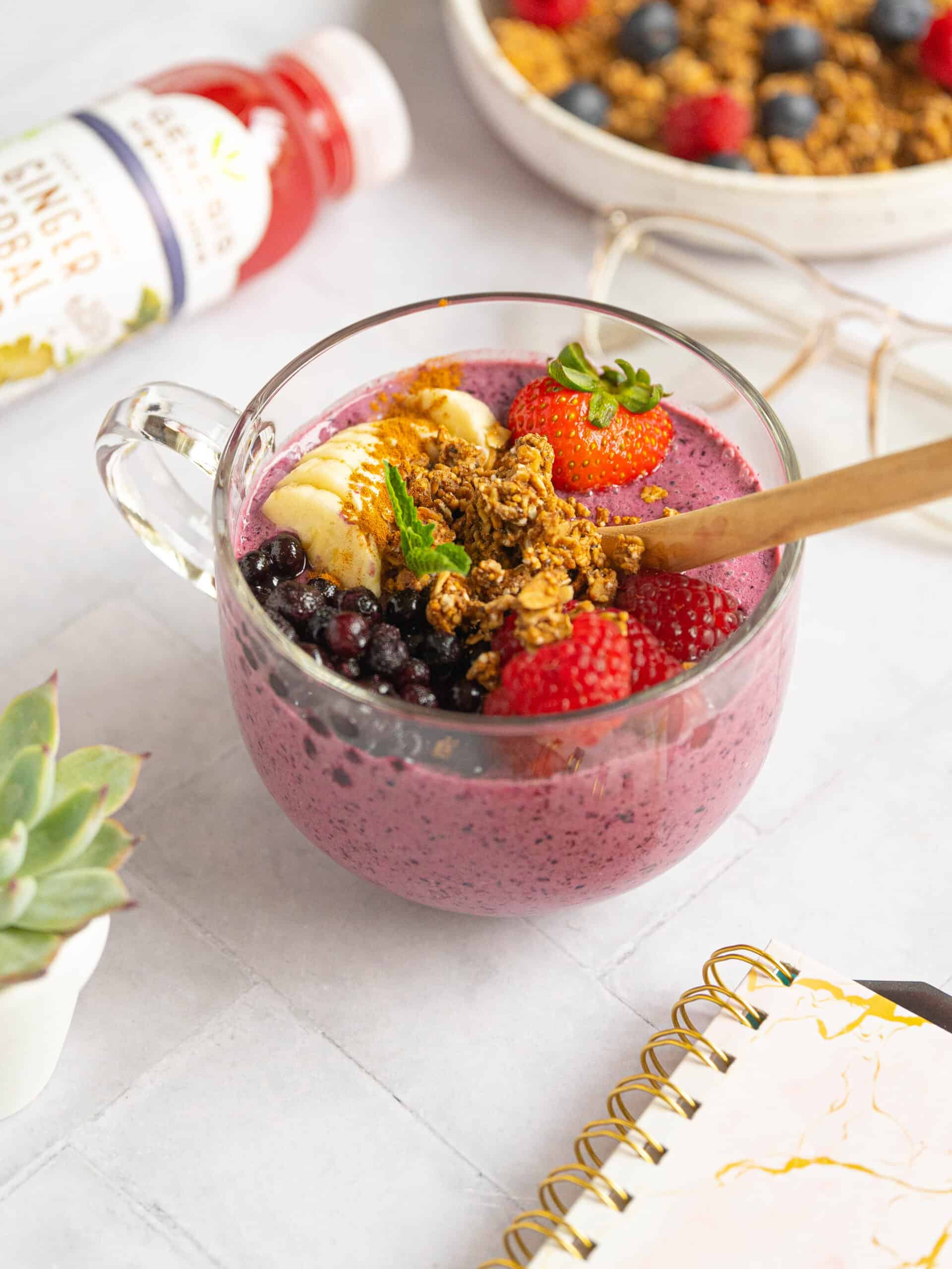 A smoothie bowl with toppings