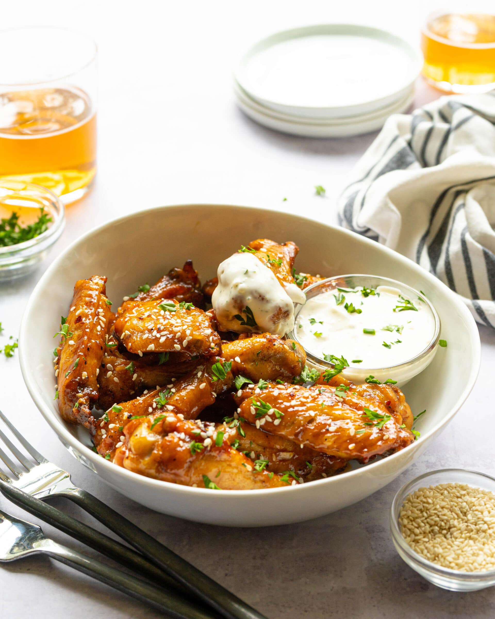 Sticky wings in a bowl