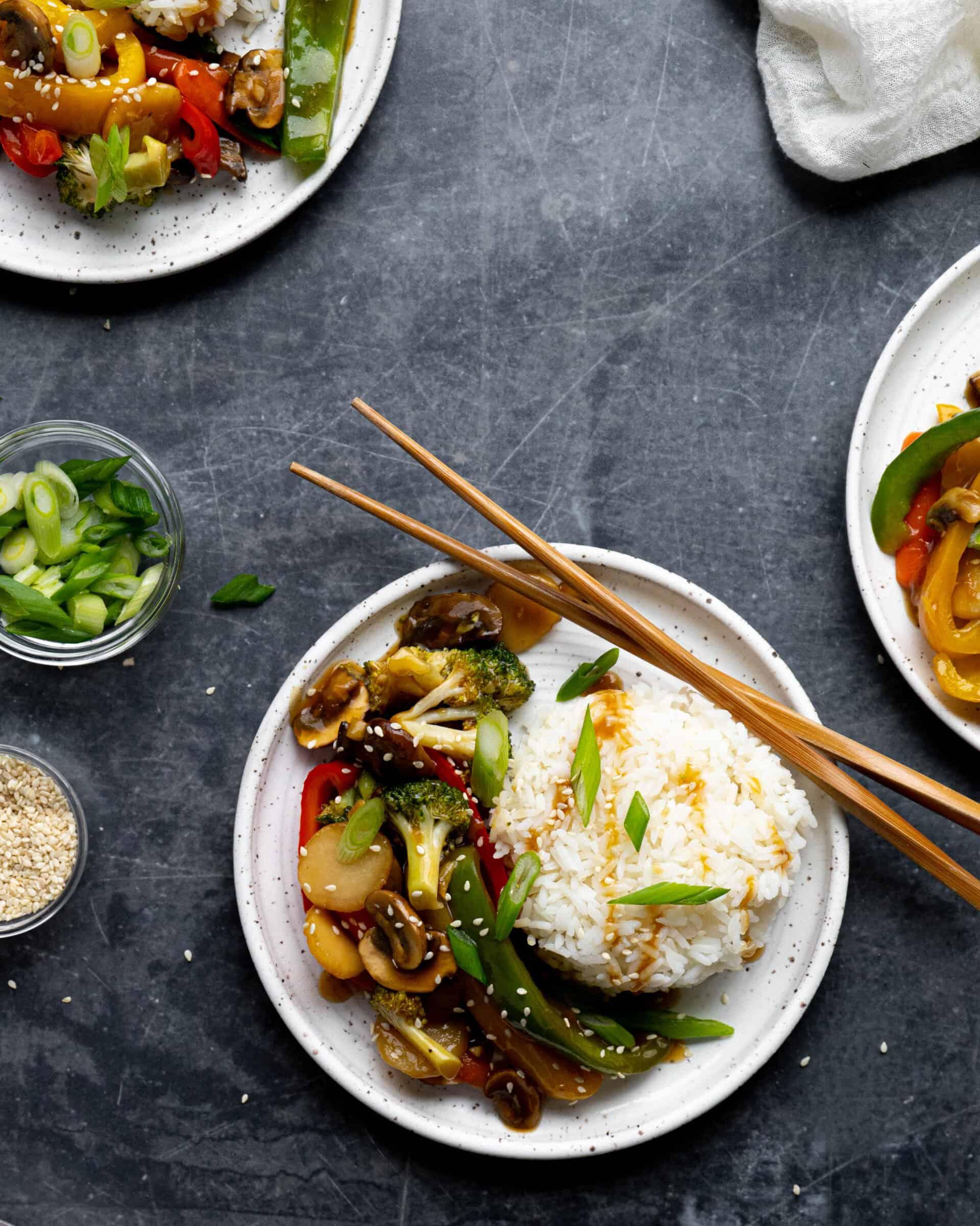 A veggie stir fry on plates