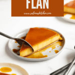 A plate with a slice of flan