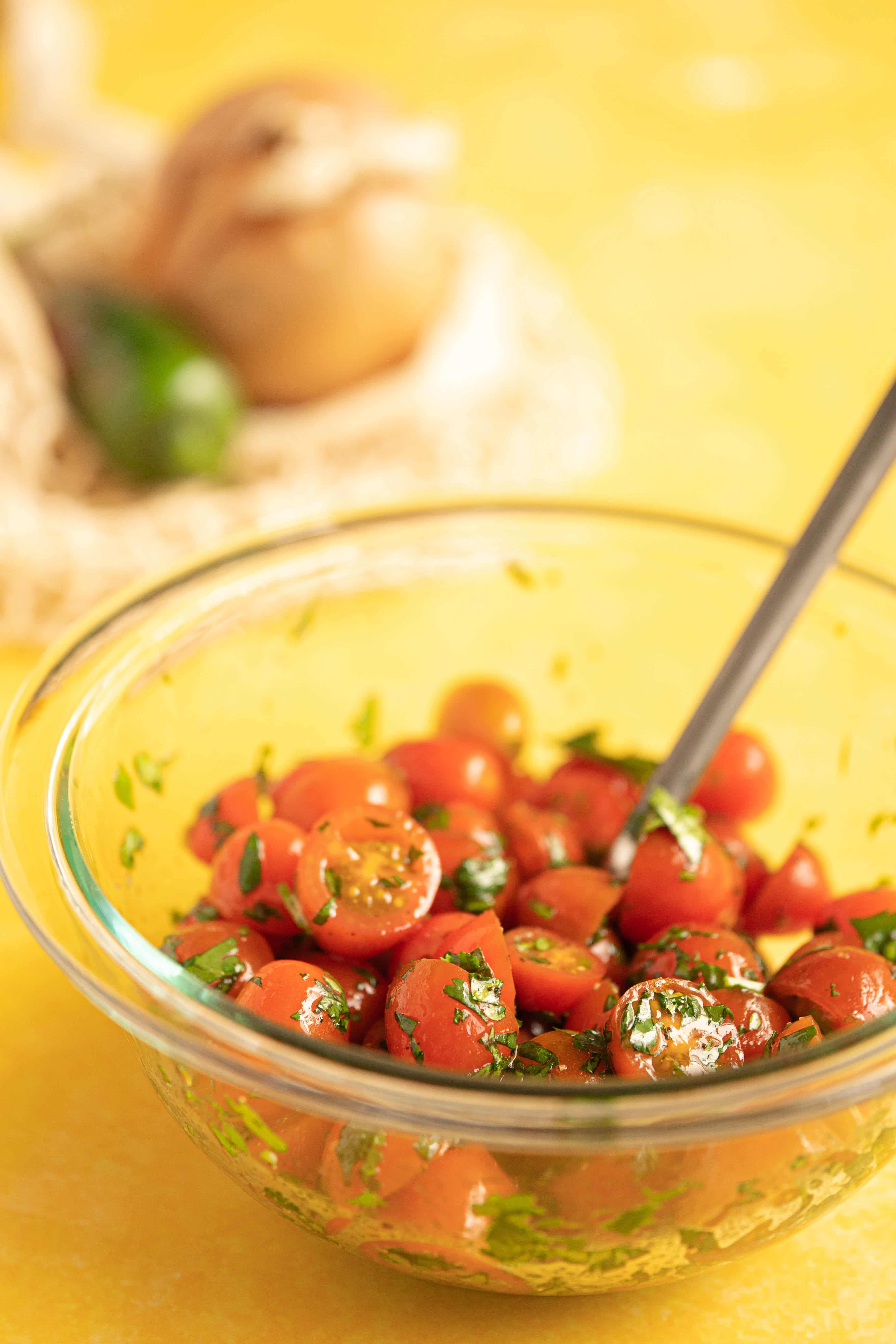 A bowl of tomato salad