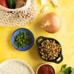 Ingredients to make rice and beans
