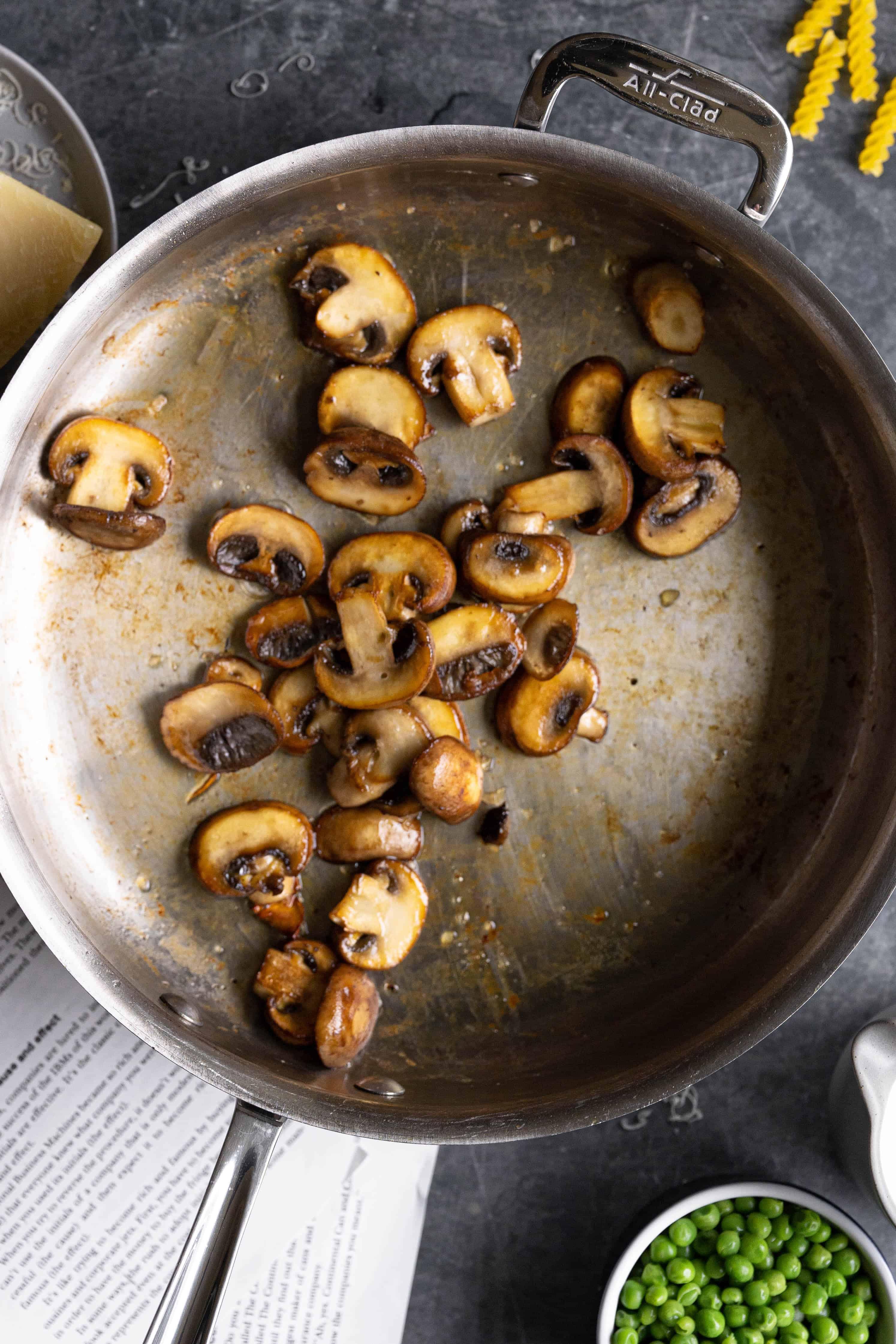 A pan with mushrooms