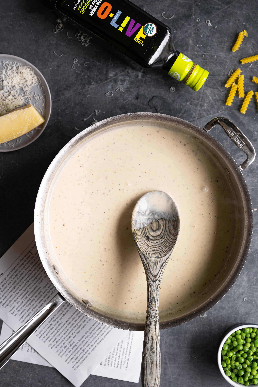 A pot of cream sauce