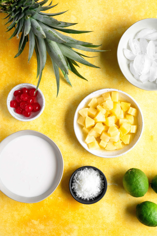 Ingredients to make virgin pina coladas