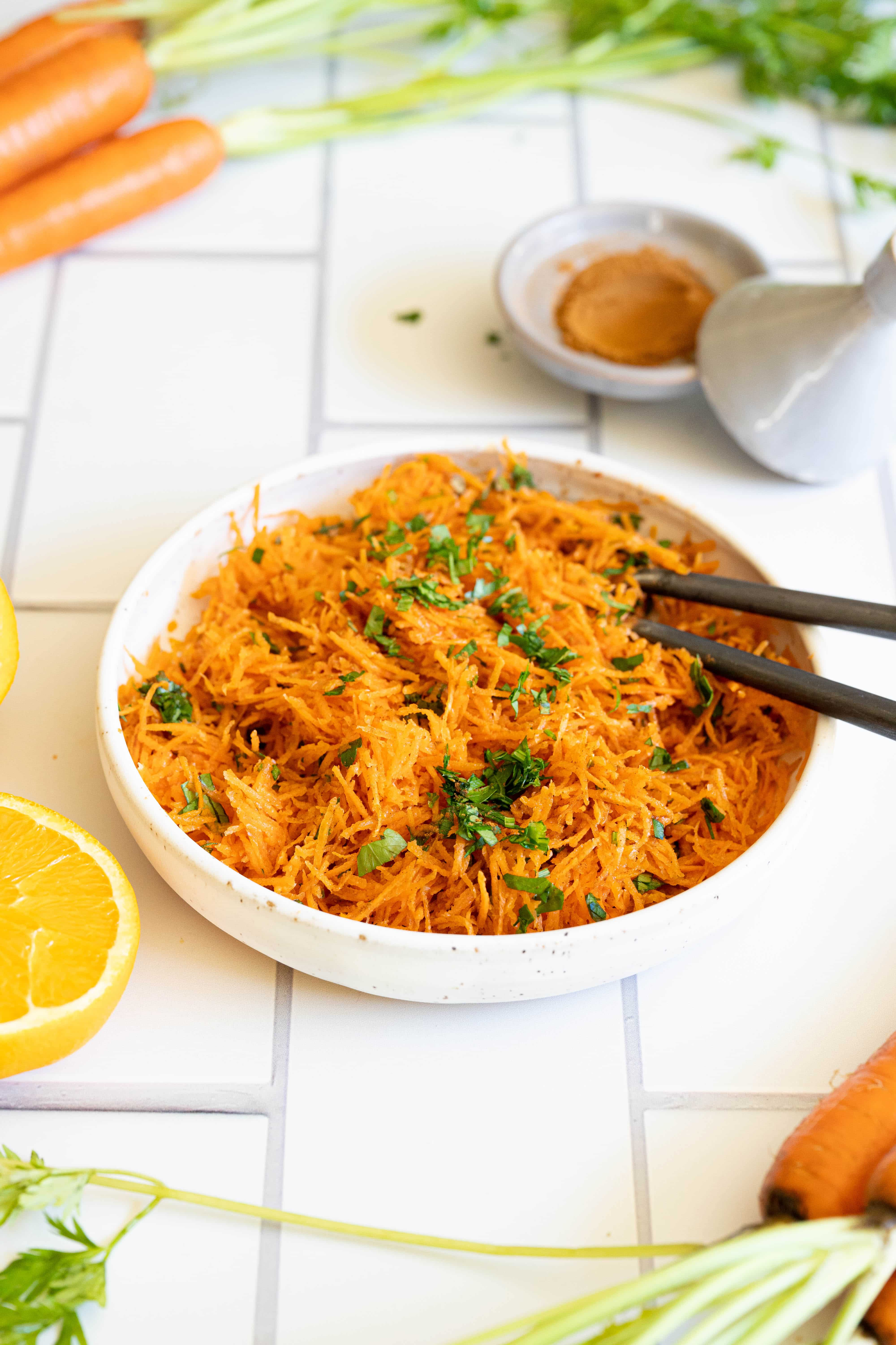 A bowl of Moroccan carrot salad