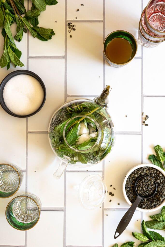 mint in a teapot