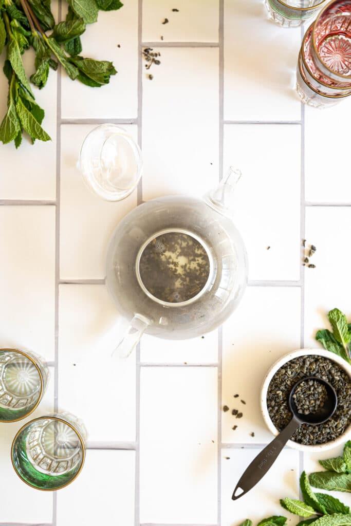 a teapot with mint tea