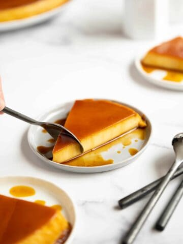 a slice of flan