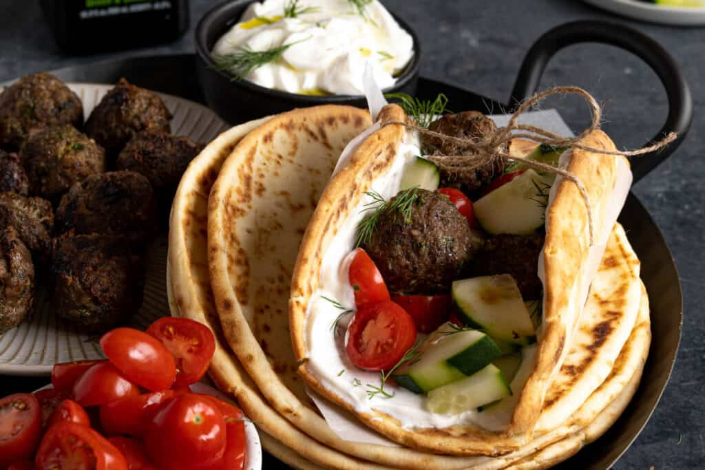 A pita loaded with fixings