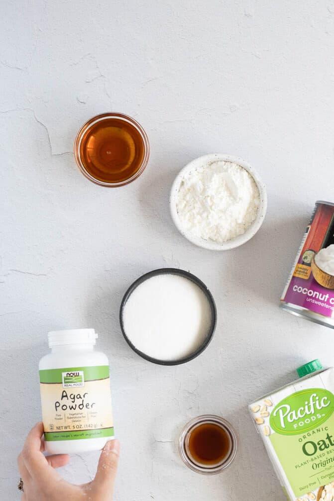 Ingredients to make vegan flan
