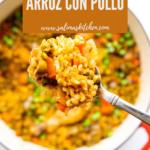A pot of Puerto Rican arroz con pollo