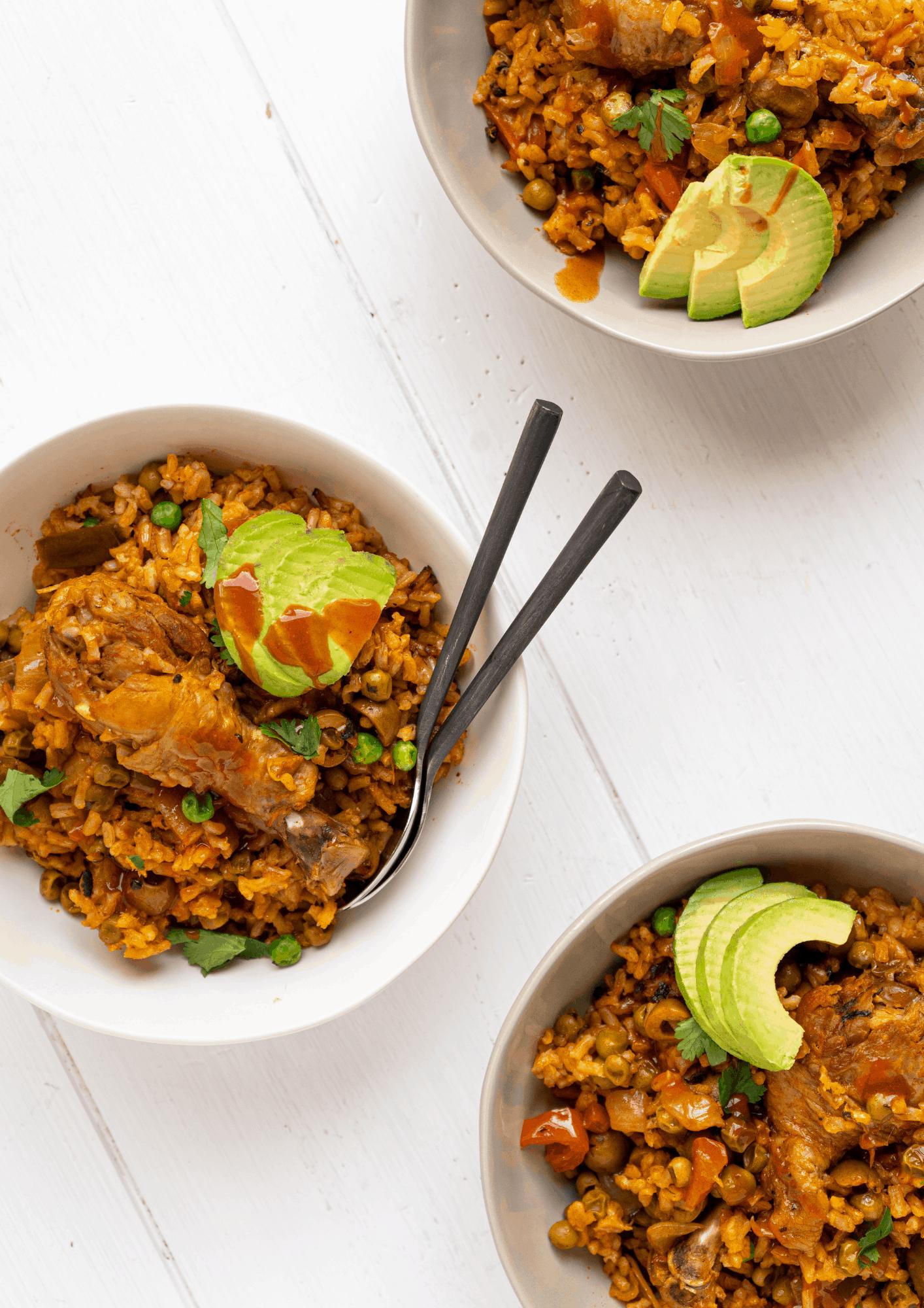 a bowl of arroz con pollo