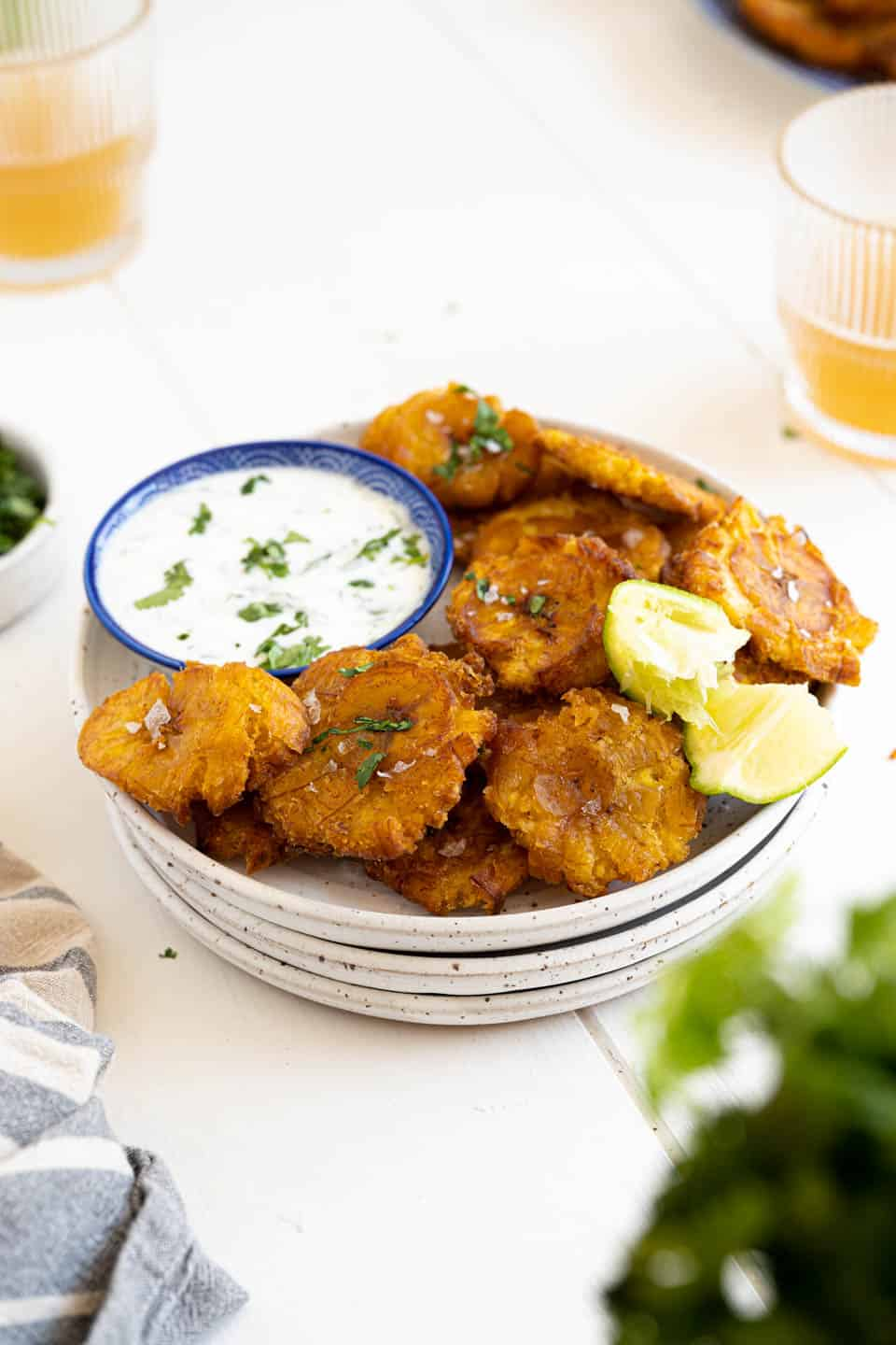 A plate of tostones