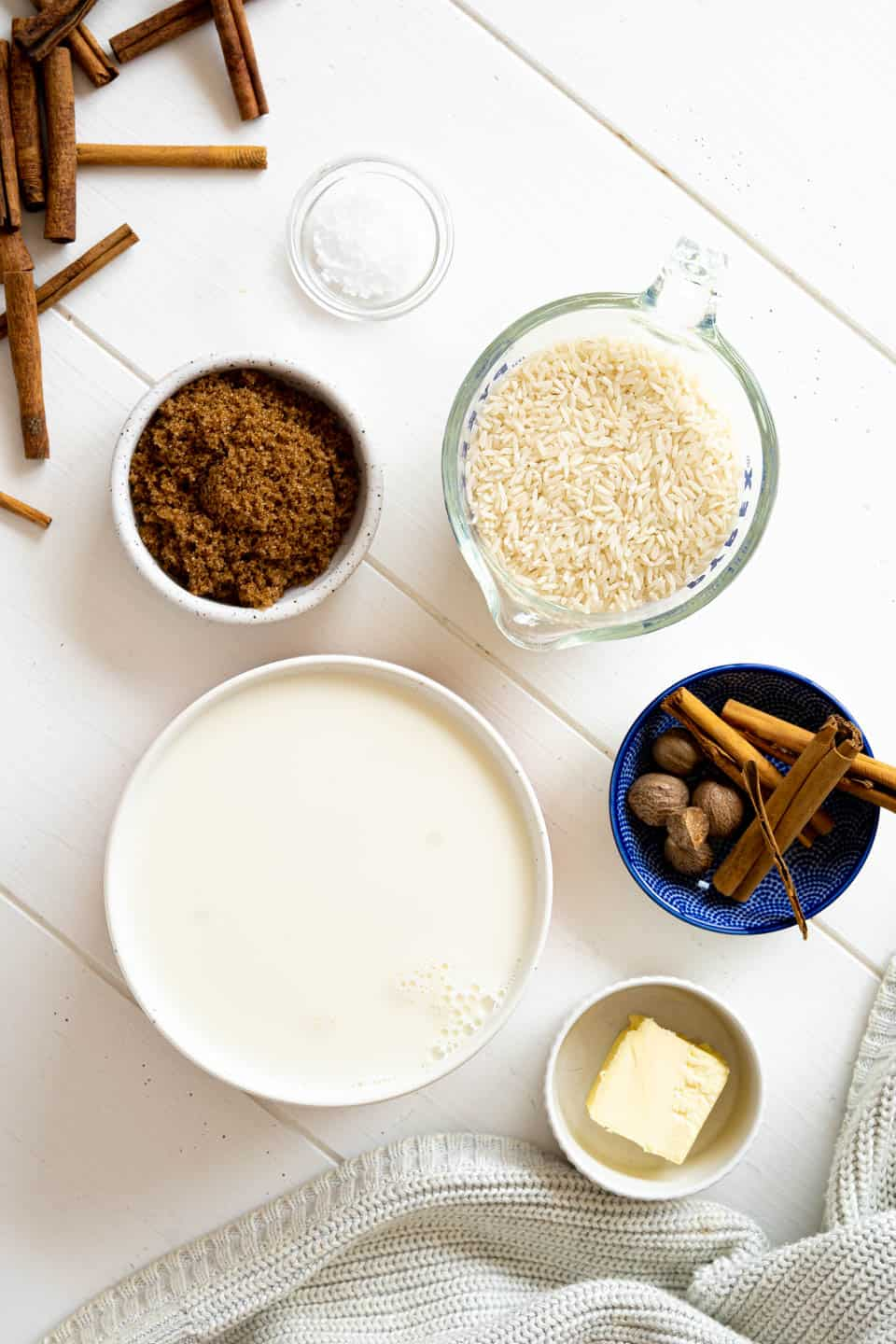 ingredients to make arroz con leche
