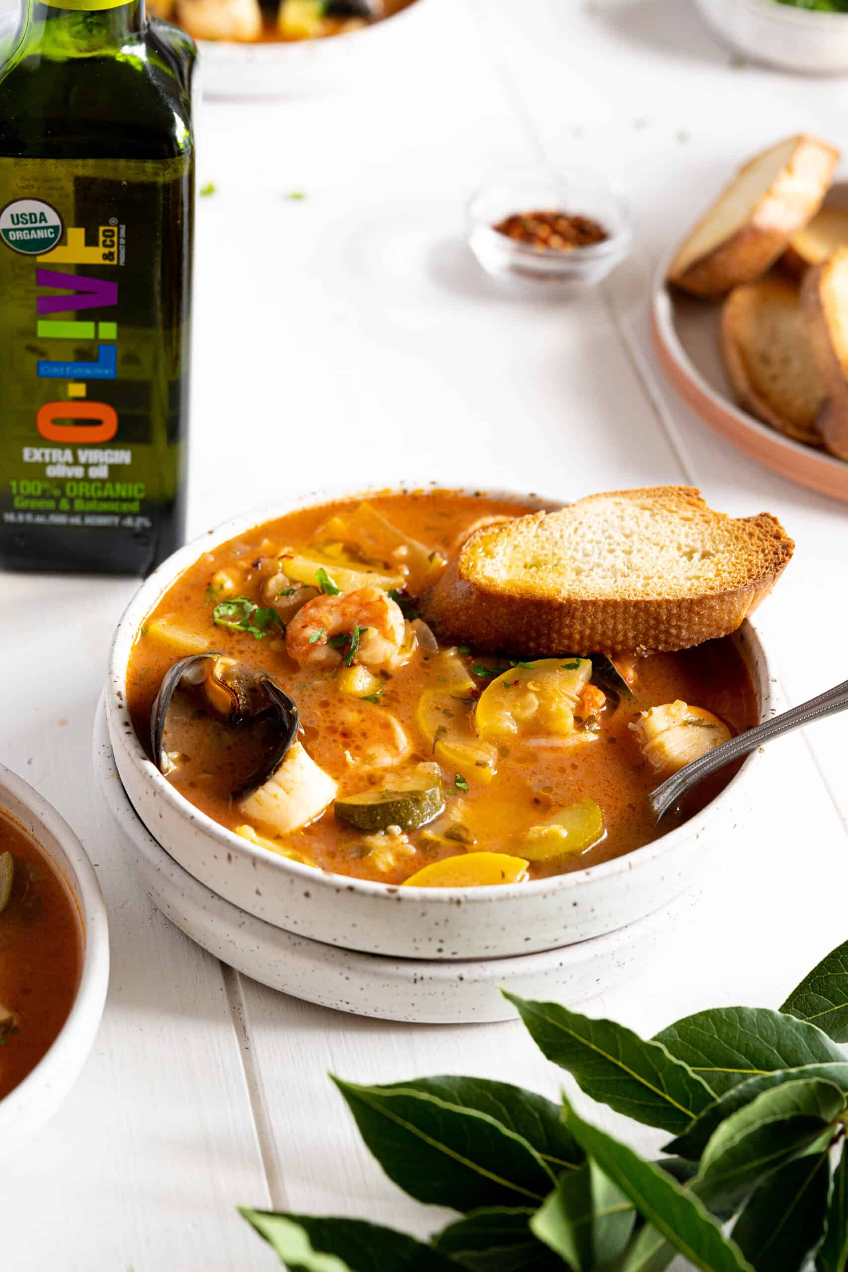 A bowl of Moroccan fish stew