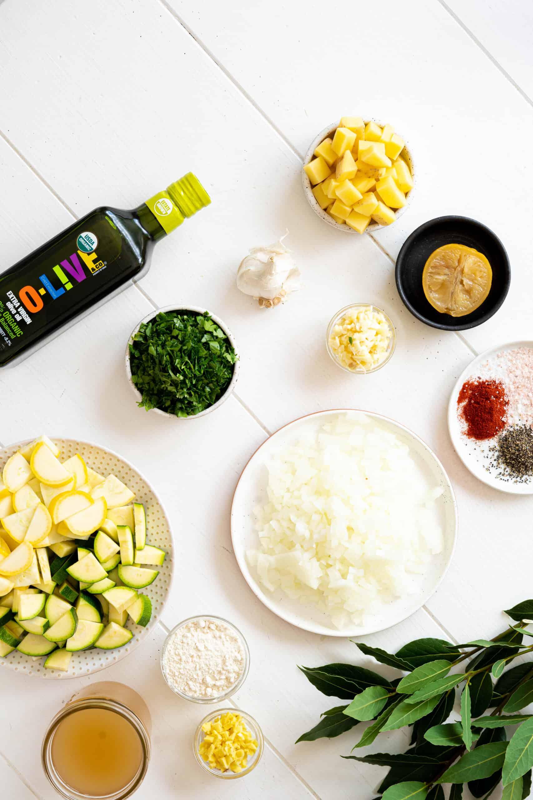 Ingredients to make Moroccan fish stew