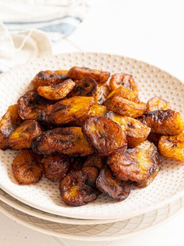 a plate of sweet fried plantains