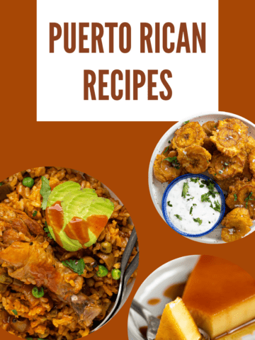 an assortment of Puerto Rican recipes