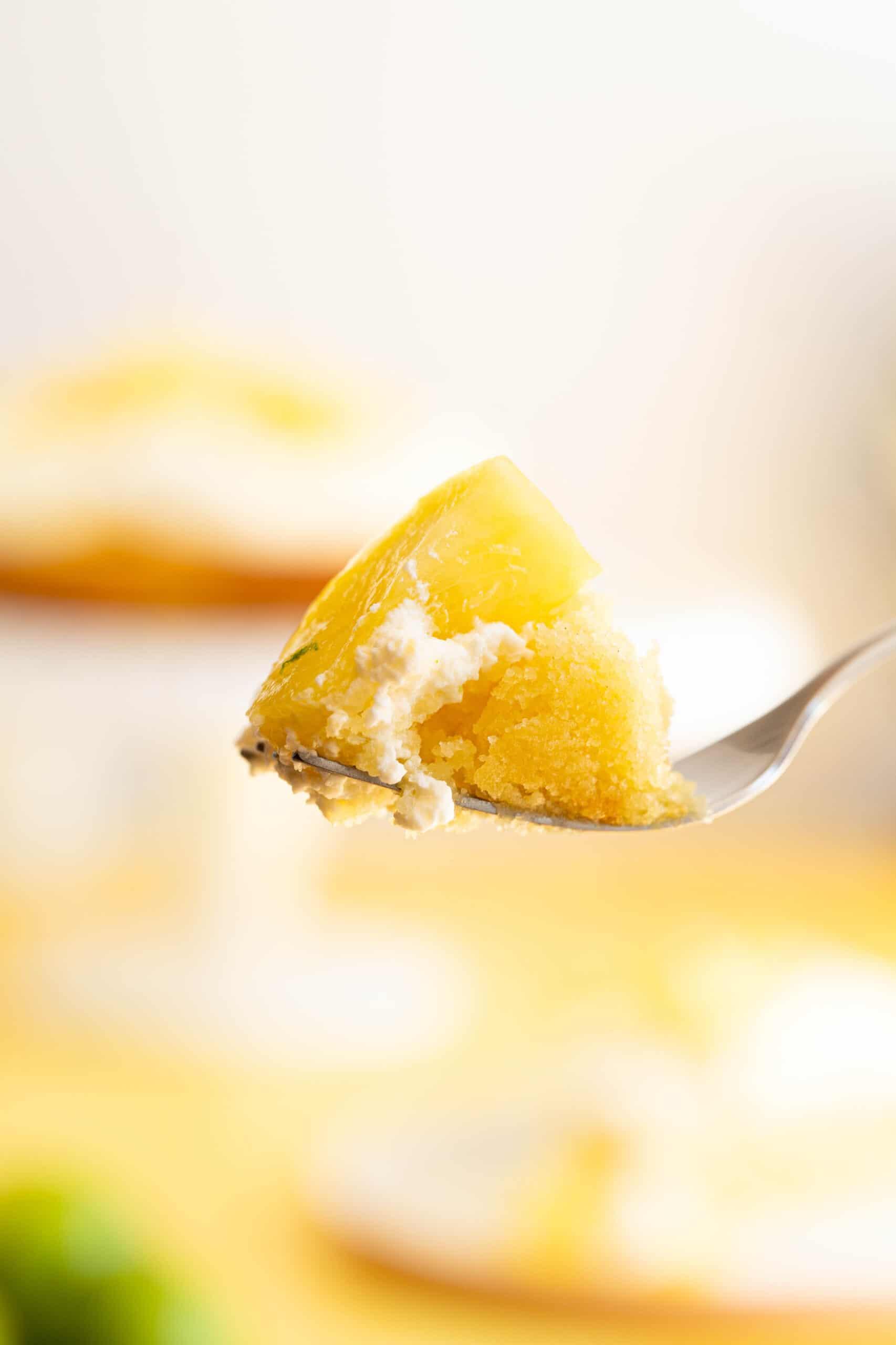 a bite of pina colada cake